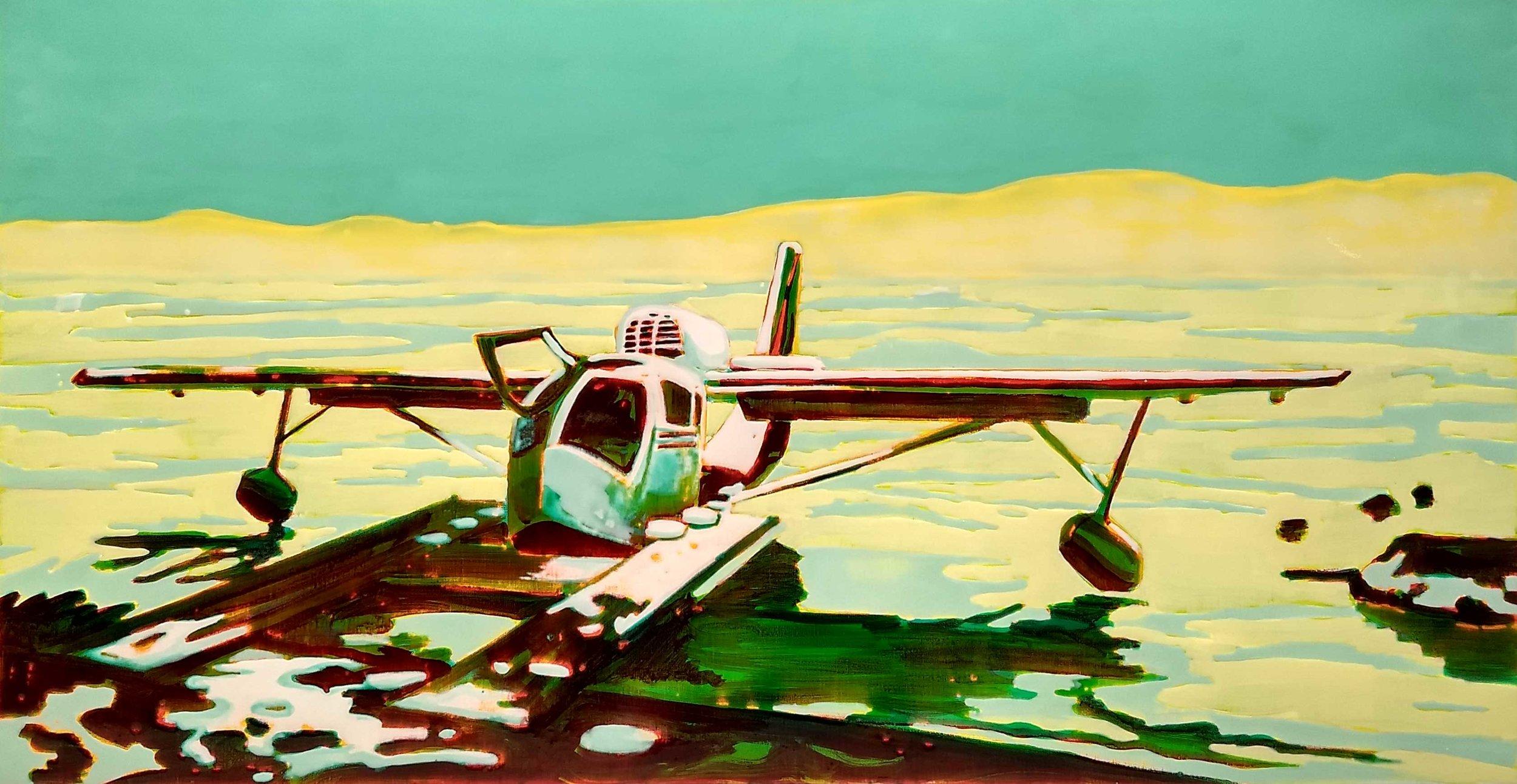 SEAPLANE ON LAKE TAHOE  70x140 cm acrylic and epoxy on canvas