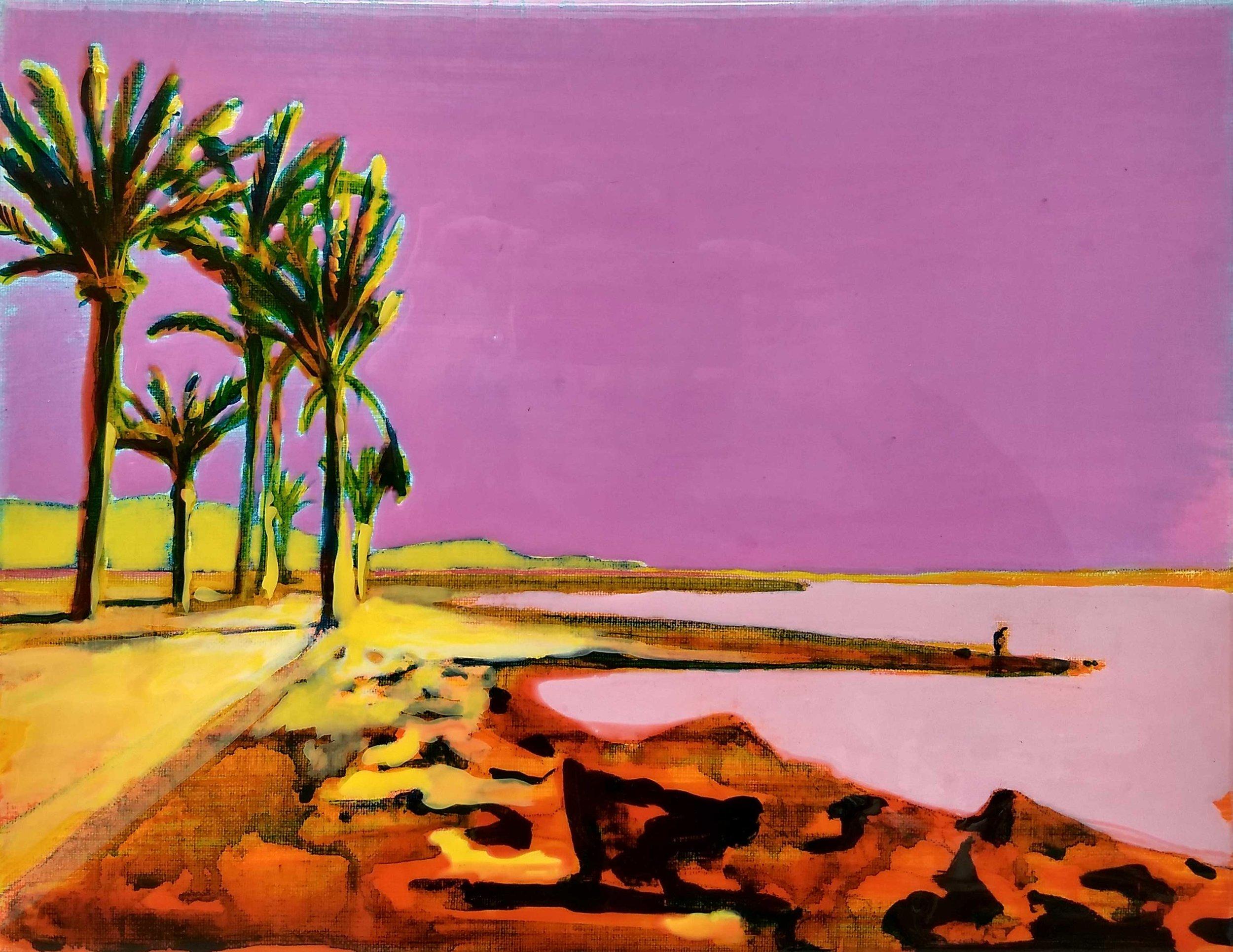 PLAYA DE LAS AMÉRICAS  Acrylic and epoxy on canvas 30 x 40 cm