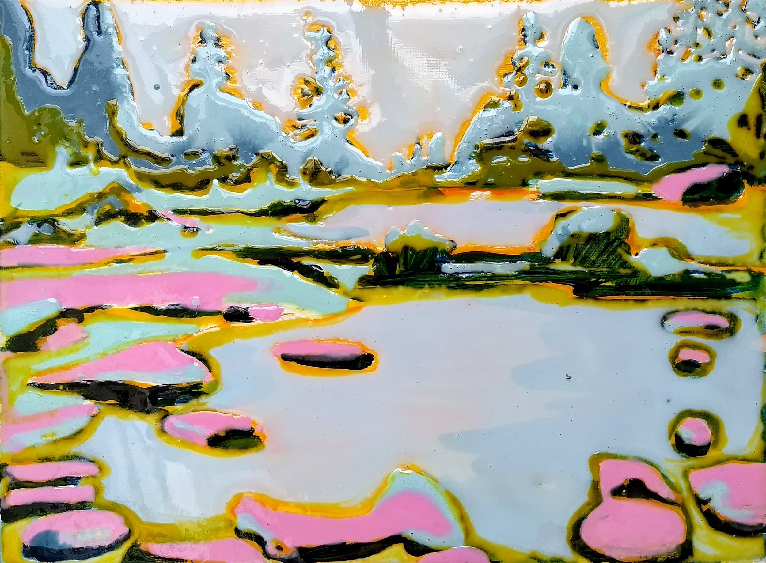 湖泊·美国   布面丙烯酸及环氧树脂 30 x 40 cm