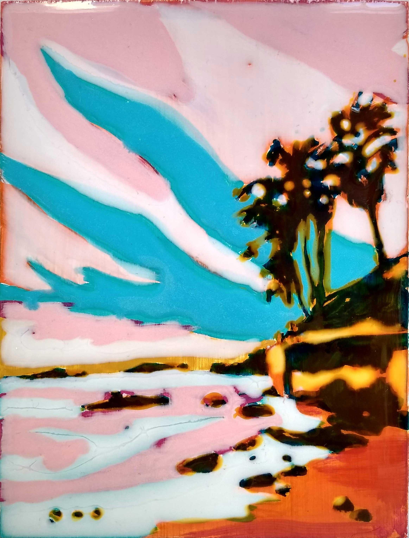 WORK ON WOOD  17 x 13 cm Acrylic and epoxy