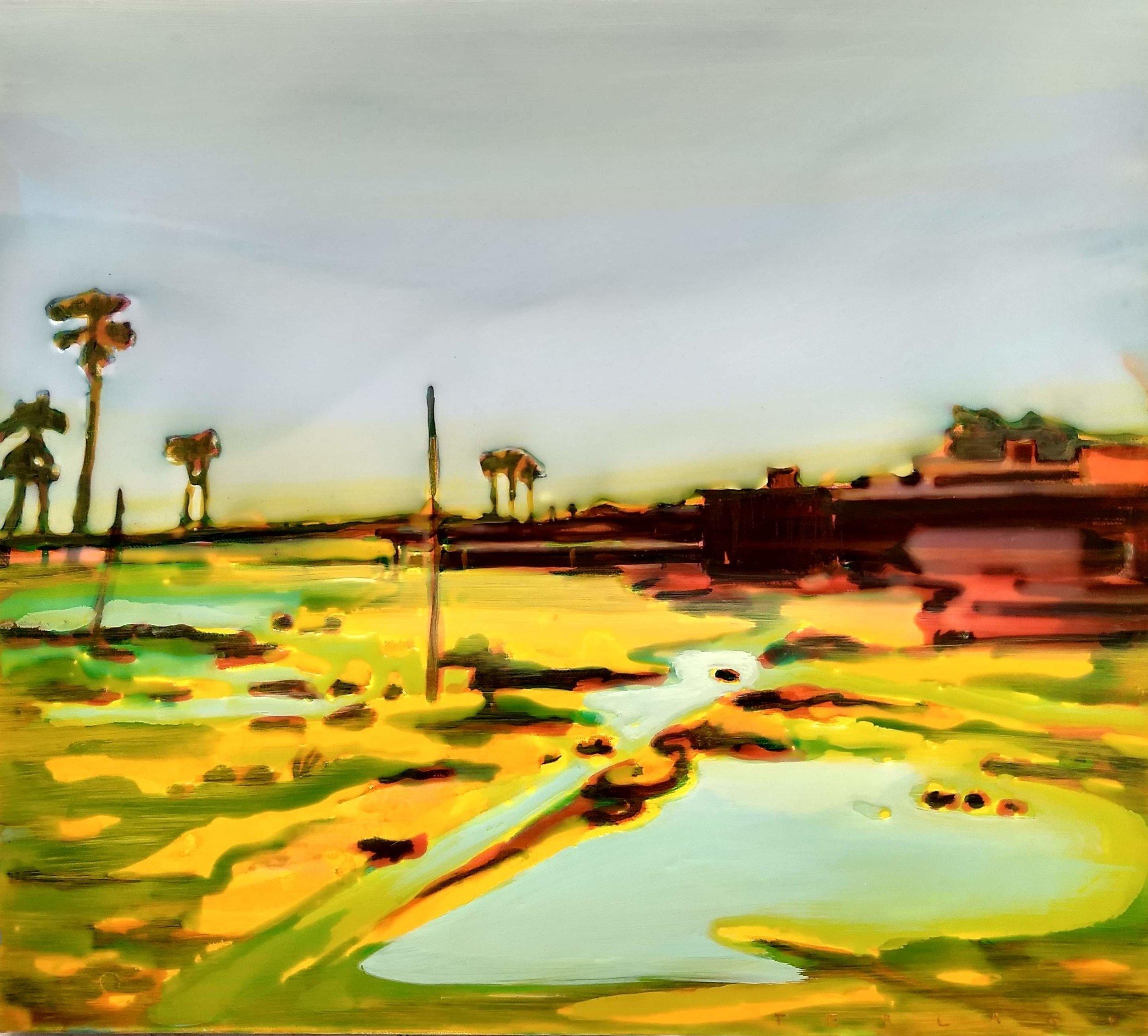 沼澤  布面丙烯酸及环氧树脂 40 x 45 cm