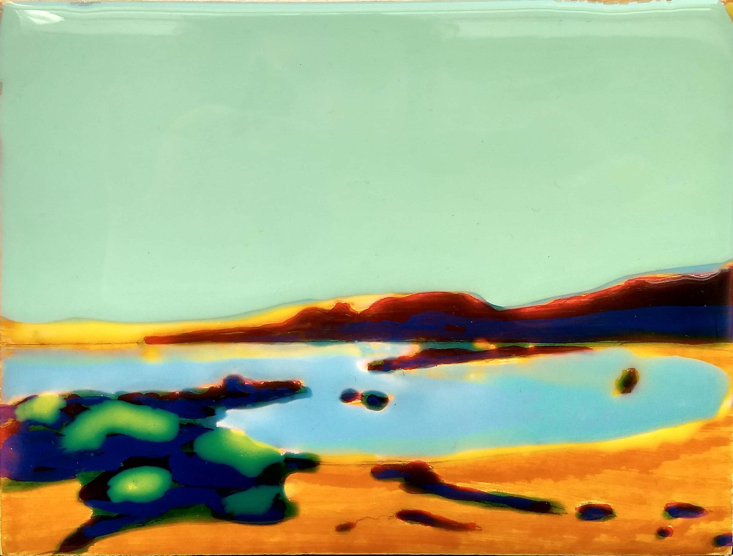 WORK ON WOOD  13 x 17 cm Acrylic and epoxy  Sold