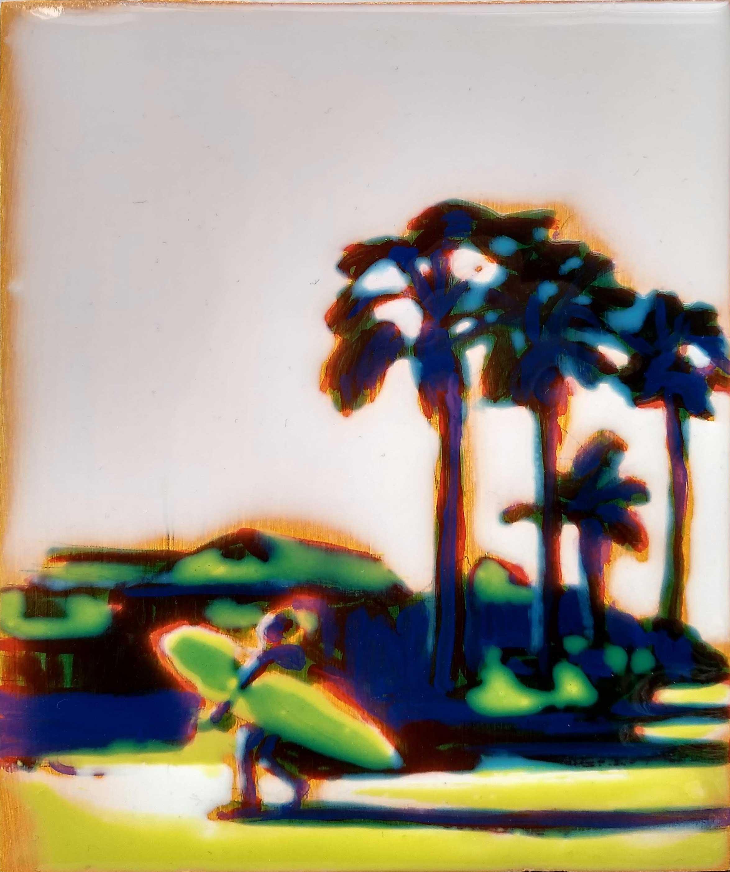 WORK ON WOOD  17 x 13 cm Acrylic and epoxy  Sold