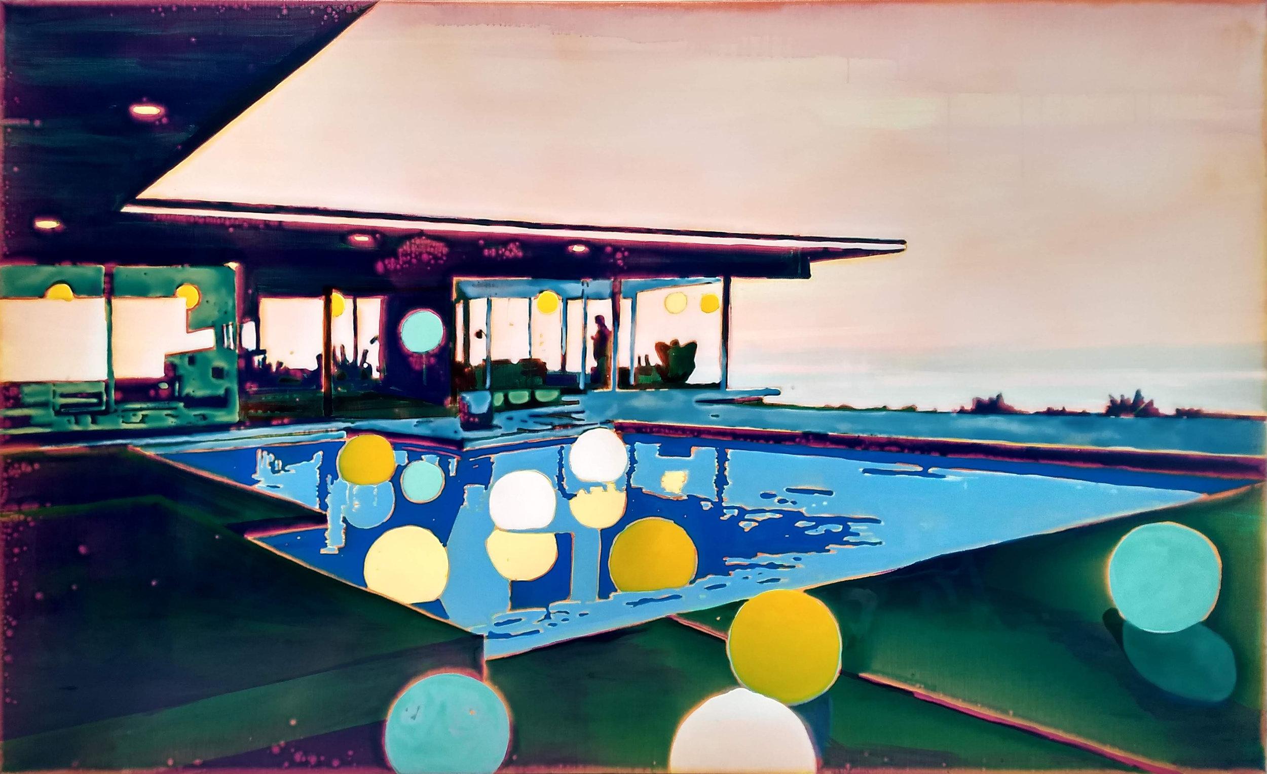 巴克的泳池派對  布面丙烯酸及环氧树脂 120 x 200 cm 已售