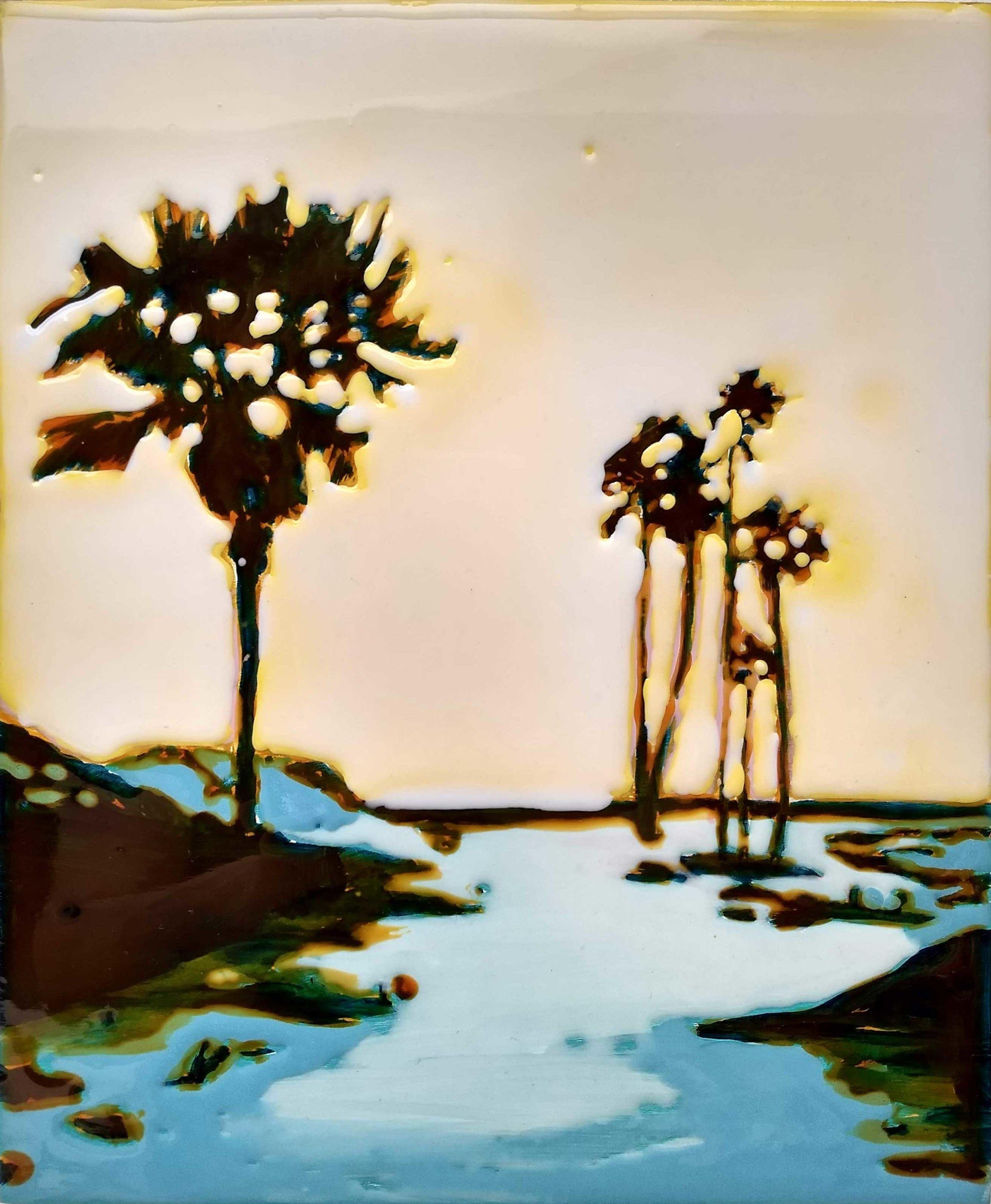 WORK ON WOOD  24 x 30 cm Acrylic and epoxy
