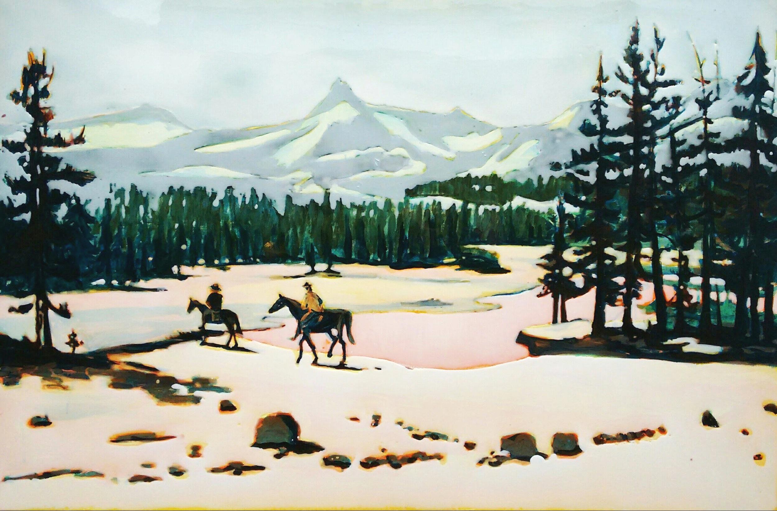 TUOLUMNE RIVER  150 x 80cm Acrylic and epoxy on canvas  Sold