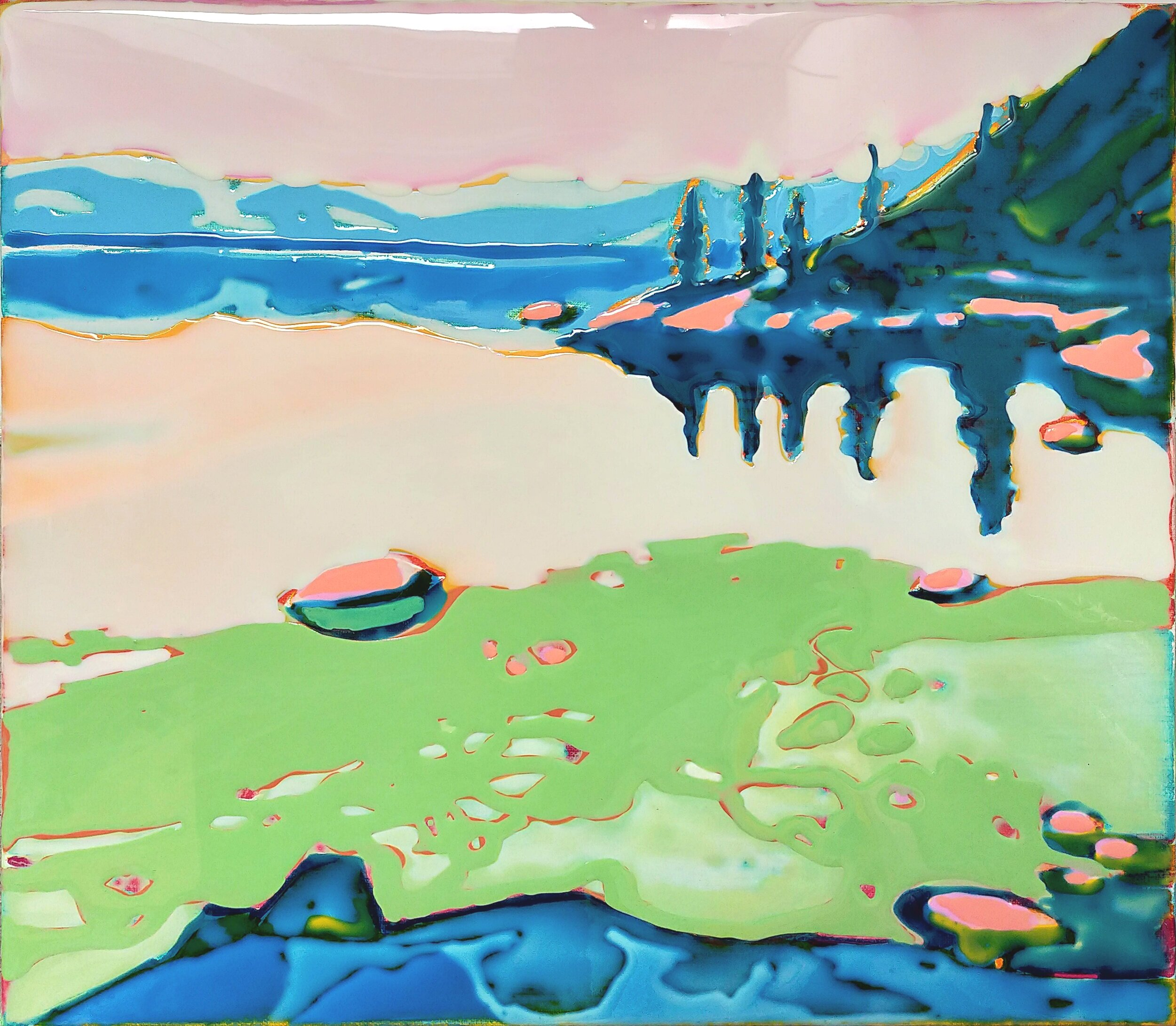 LAKE TAHOE - 3  40 x 45 cm acrylic and epoxy on canvas