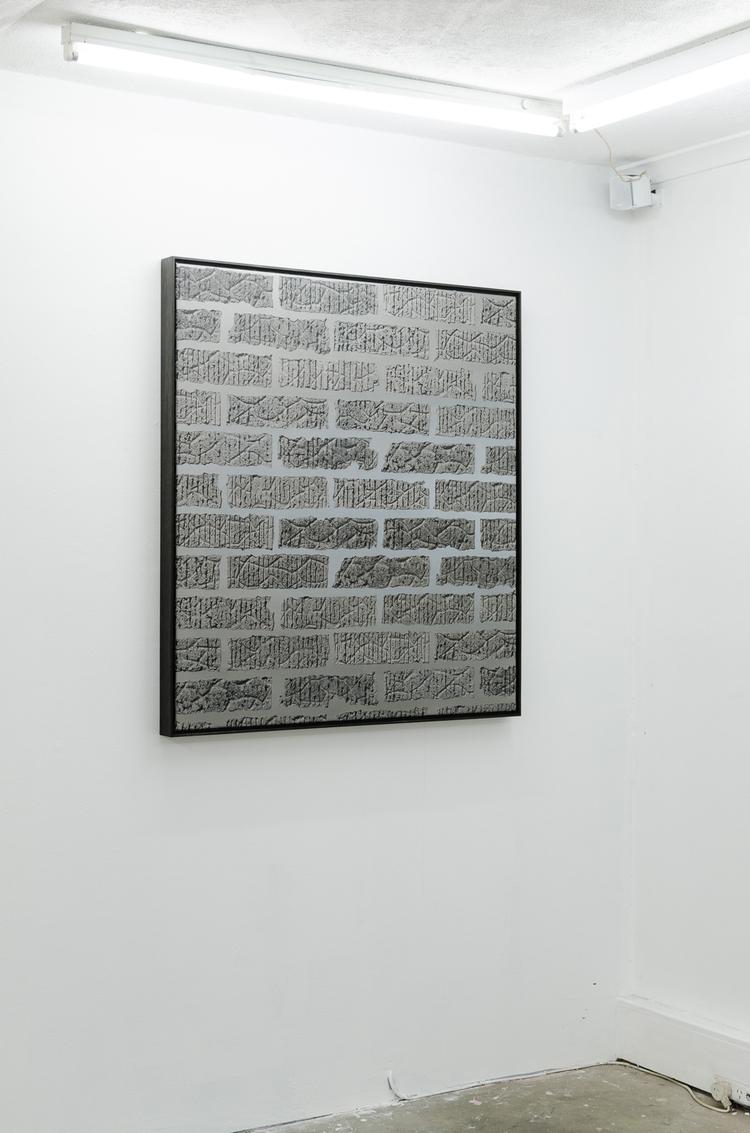Anna Kristensen,  Brick wall  , 2014, silkscreen ink and acrylic on canvas, 107 x 96.5cm.