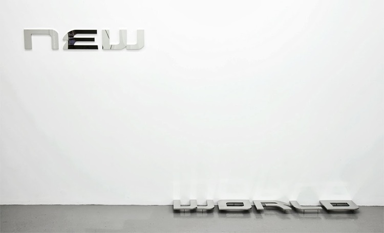 New World  , 2013, polished stainless steel, 270 x 17cm.