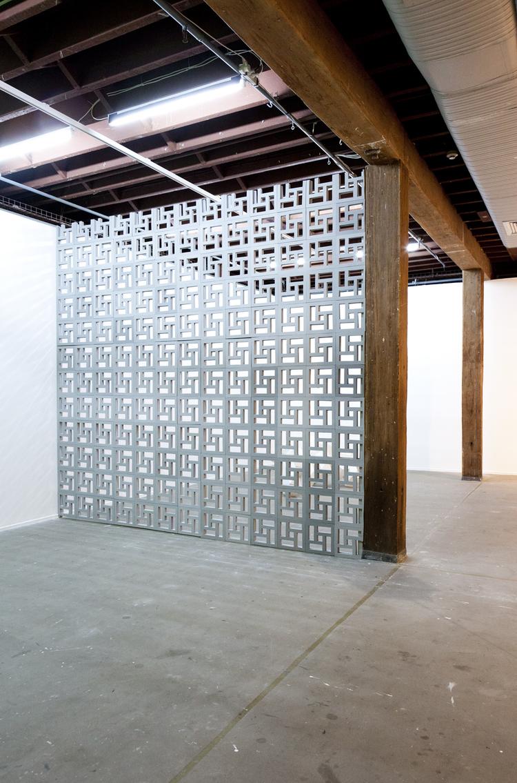 Screen Wall  , 2012,  Hand cut EVA foam, PLY wood, screws, acrylic paint, 362 x 334cm.