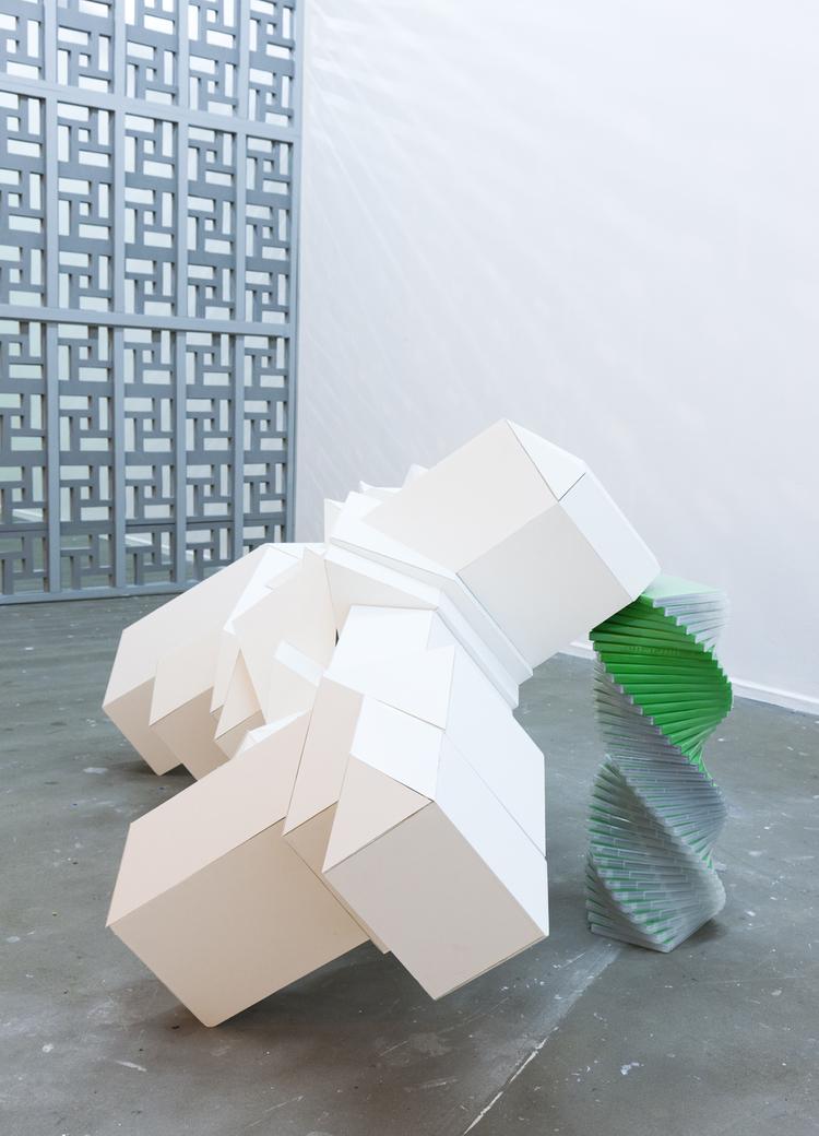 Mega Mansion  , 2012, foam core, DVD cases, Chroma key paint, cardboard, 150 x 60 x75 cm.