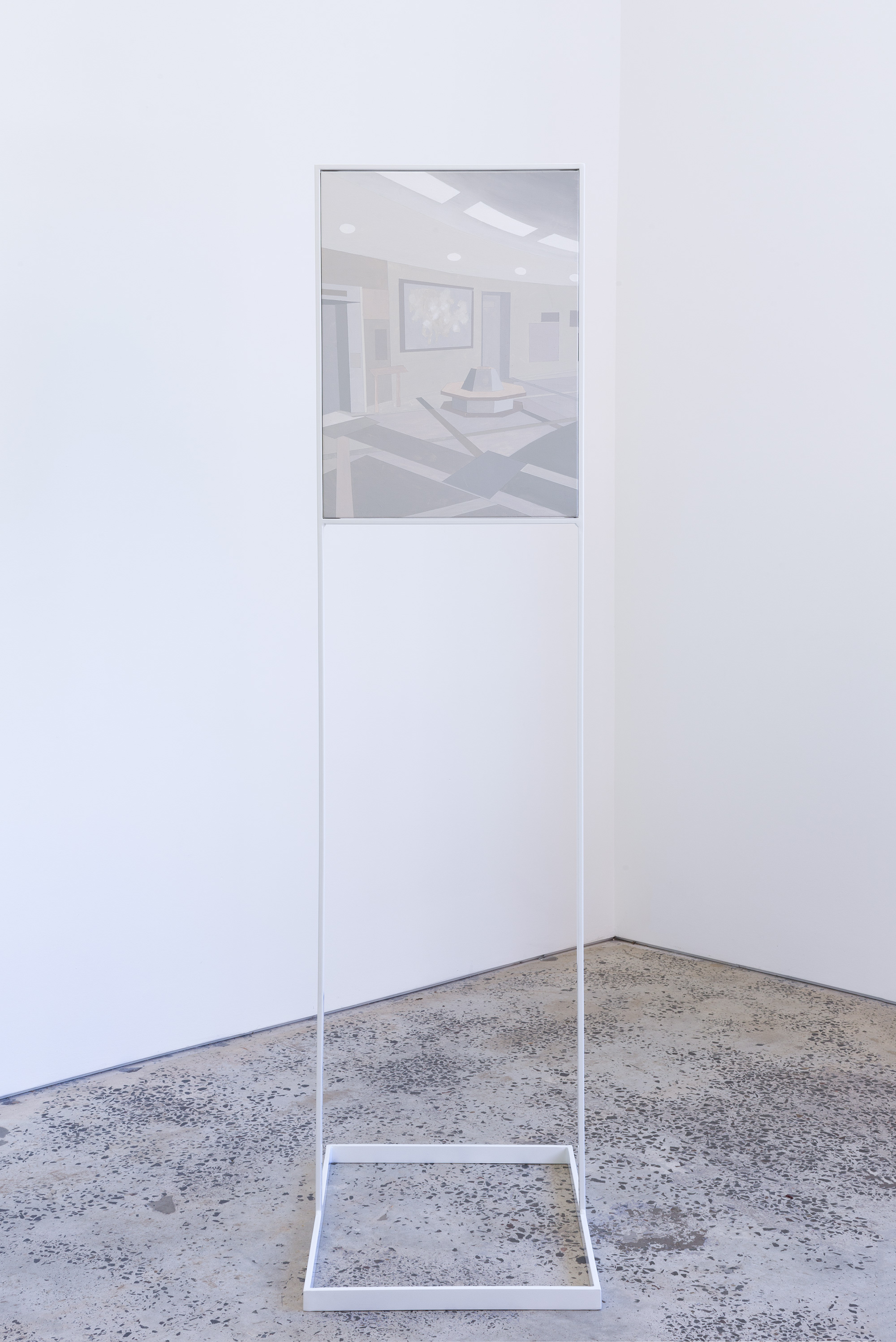SITE/NON SITE , 2017, powder coated steel structure and gouache on stretched canvas, 184 x 63 x 48cm.