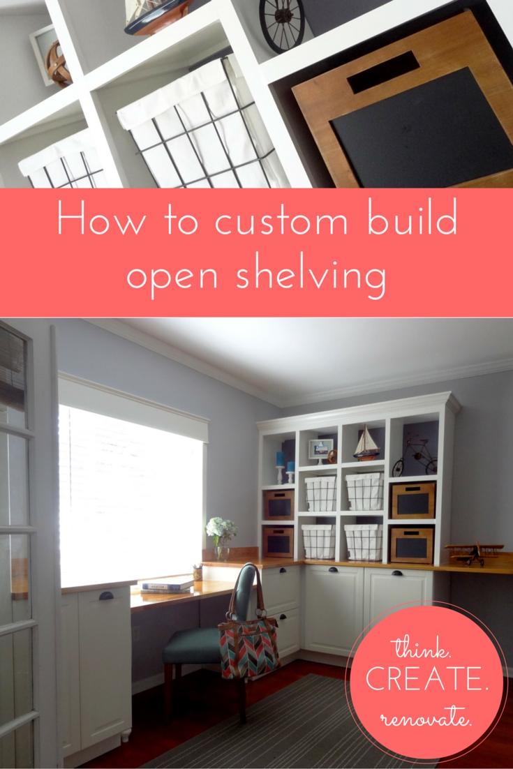 Home Office DIY Built-In Shelving
