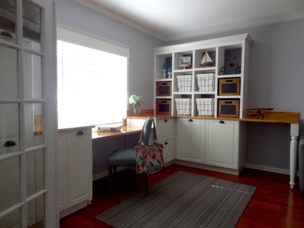Home Office DIY Built In Shelving