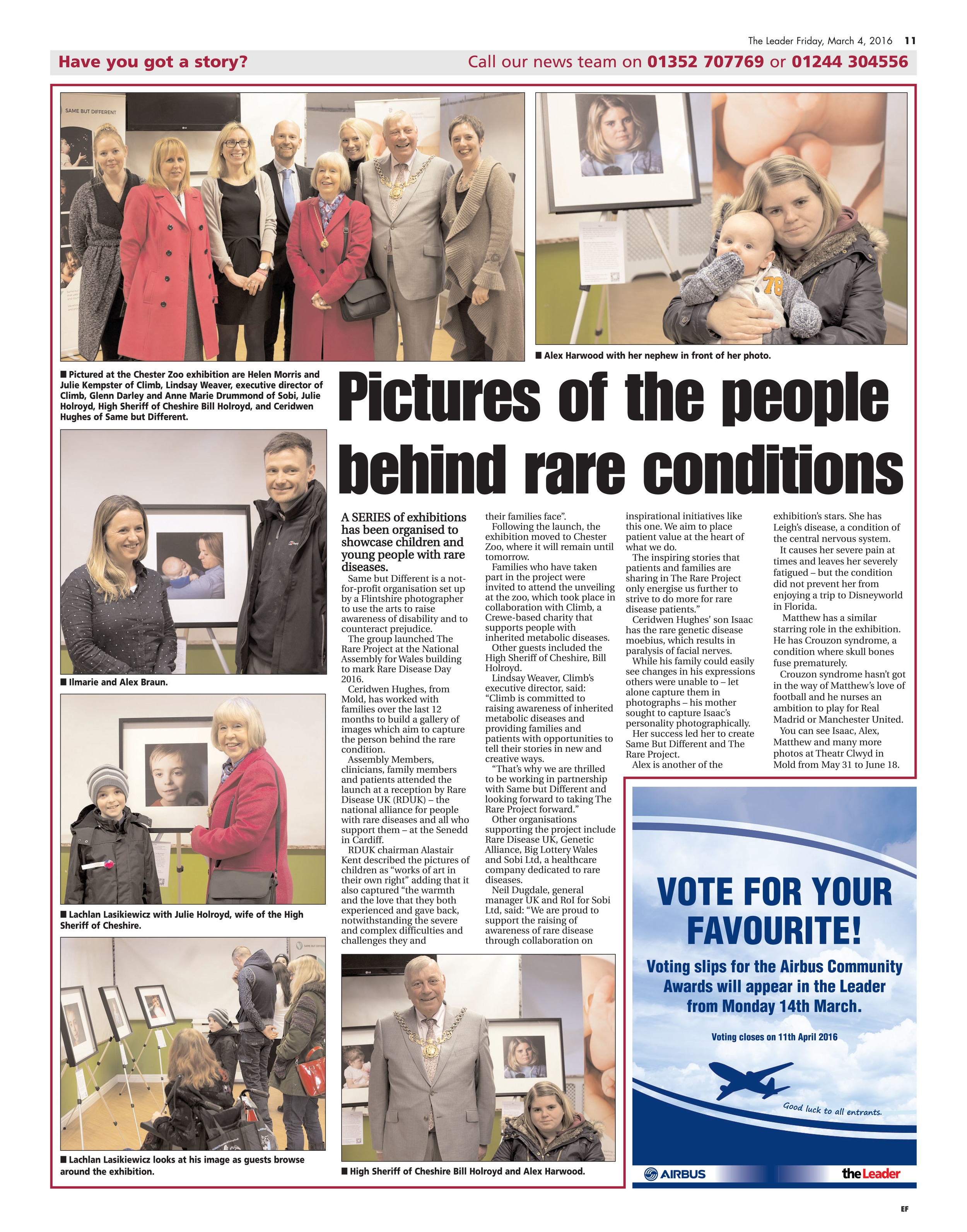 The following article appeared in the Evening Leader to highlight a series of exhibitions on Rare Disease Day