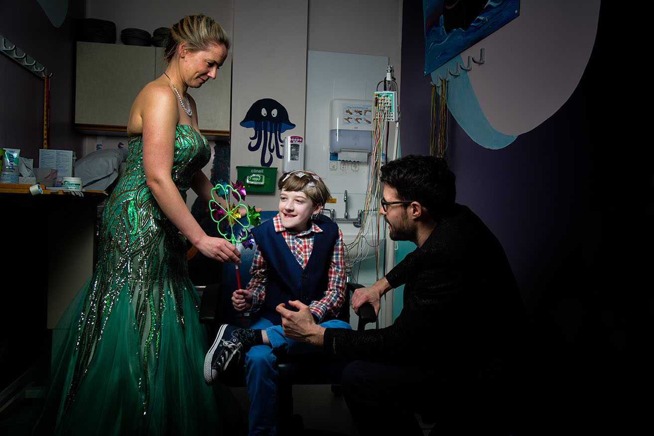 Young boy affected by kyphoscoliosis