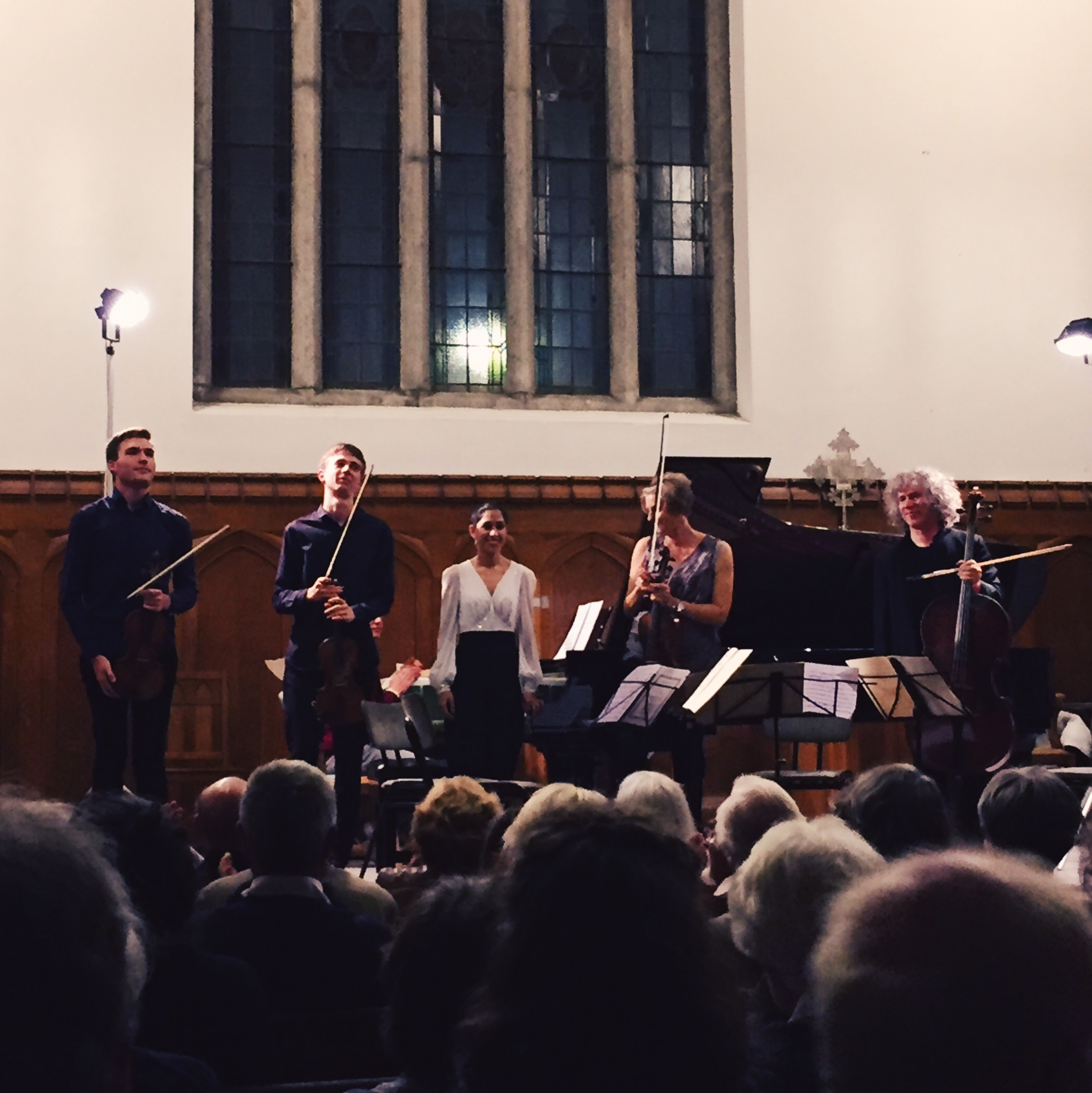 Alexi Kenney, Myself, Mishka Momen, Clare Finnimore and Steven Isserlis performing Bloch Piano Quintet No.1
