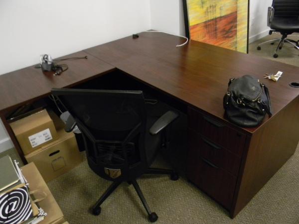 """P5 - Laminate L-shape desks.  36"""" x 72"""" desk with 36"""" return.  (1L and 1R)"""