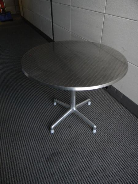 "1: 36"" round table - metallic finish - very cool"