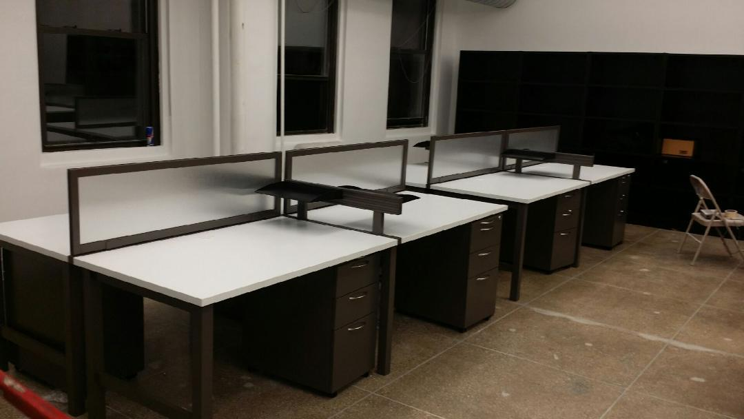 table desks with upmounted glass