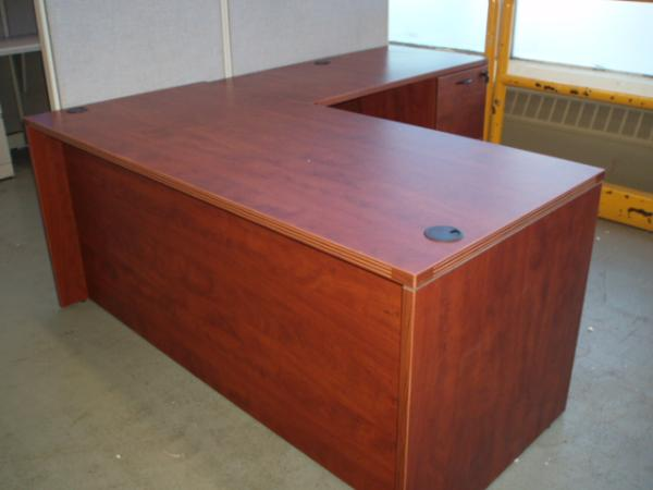 L-shape cherry laminate desk.  Better quality new laminate furniture.