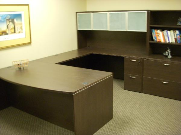 U-shape laminate desk in Espresso Finish with Hutch.  Ships every day from Office furniture NYC!
