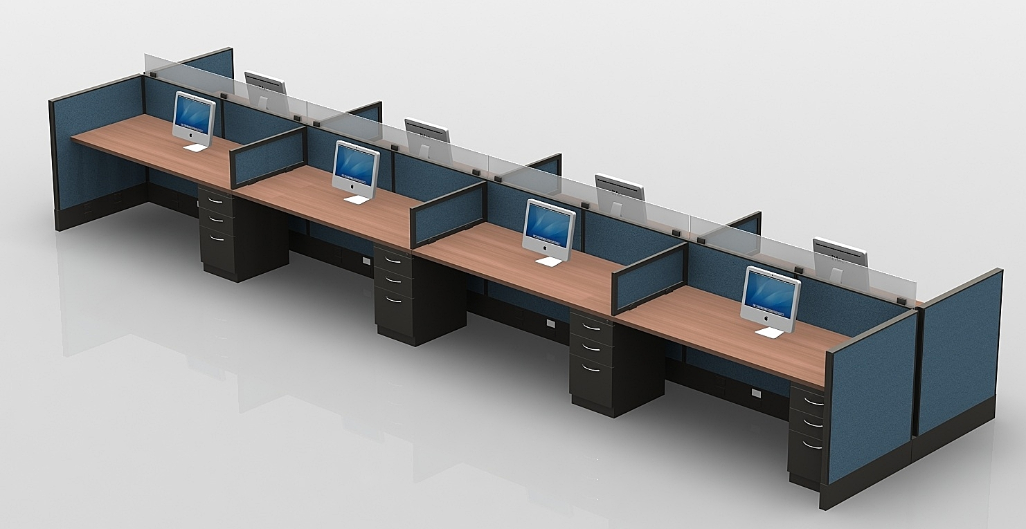 modern table desks with low panels and glass.