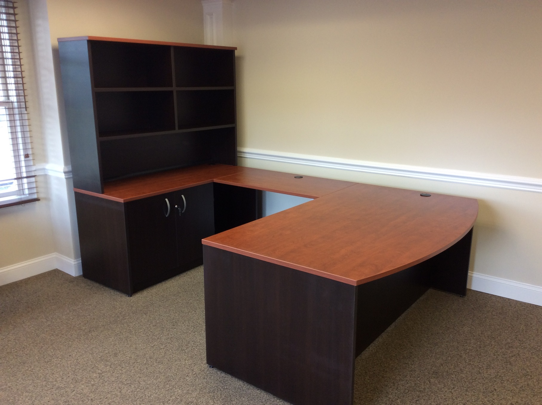 Two tone custom laminate desk for a client in Morristown New Jersey.