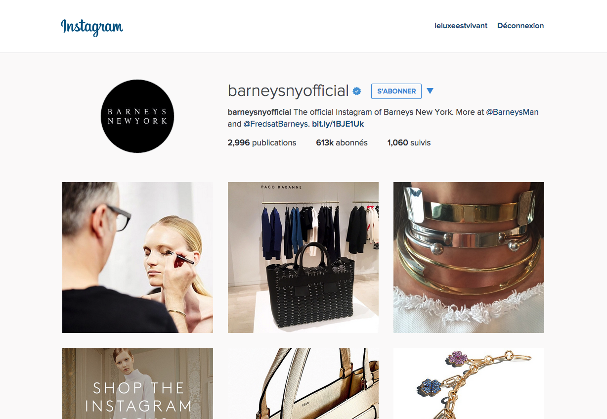 Profile Instagram de l'enseigne Barneys New York avec le lien Link2Buy
