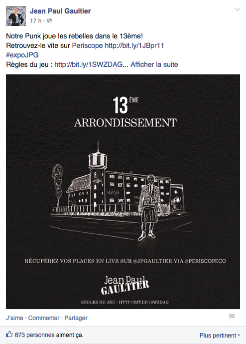 Indice n°2 dévoilé sur la page Facebook de la marque le 3 juillet 2015