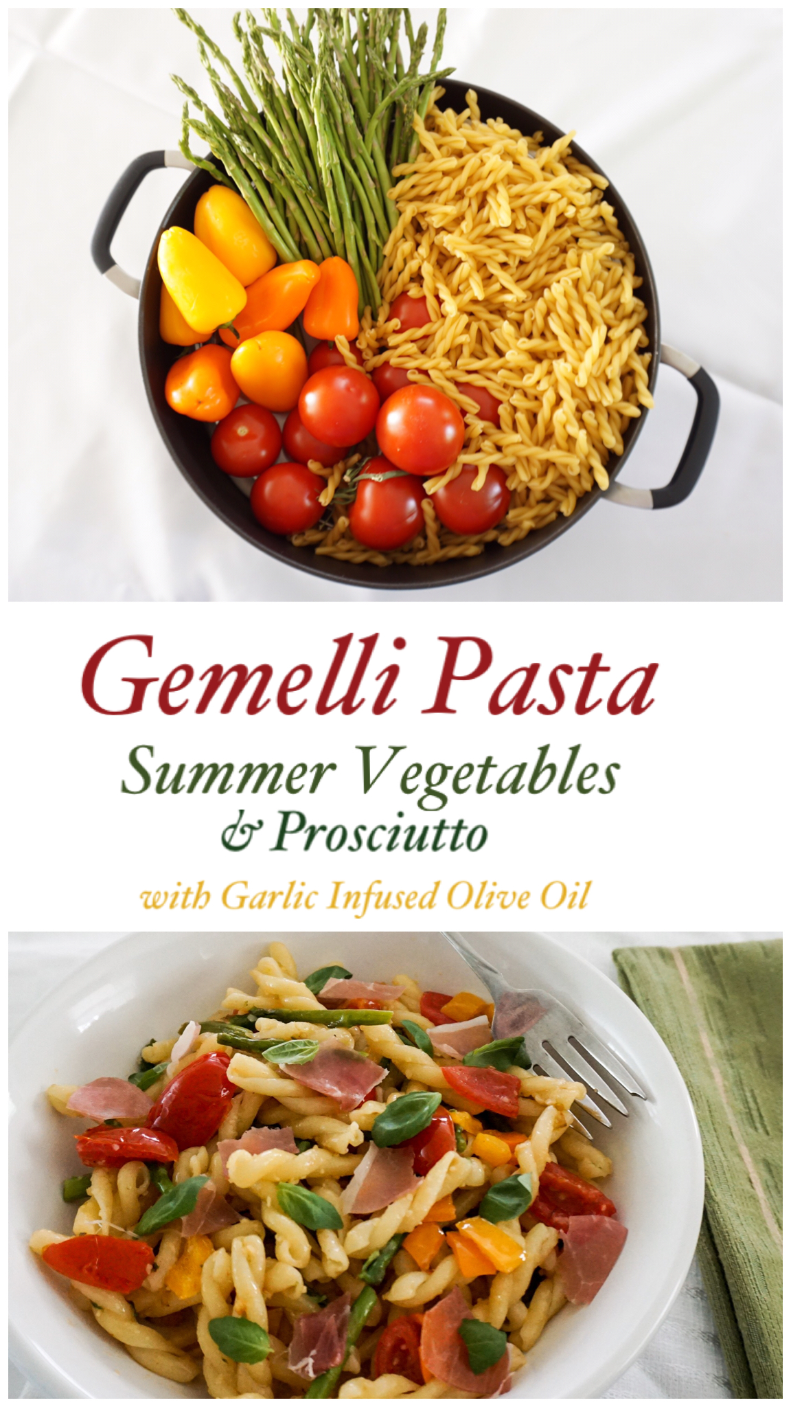 Bright, fresh vegetables and prosciutto in mouth-watering garlic oil. Easy summer dinner recipe! Yum 👅