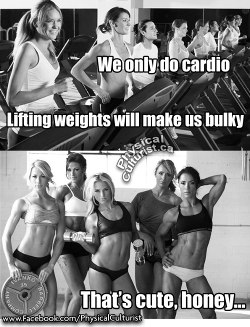 There are a ton of memes similar to this online. And while it is true that women will not be more bulky with weight training, is it as effective as cardio for losing body fat, being fitter and more healthy?