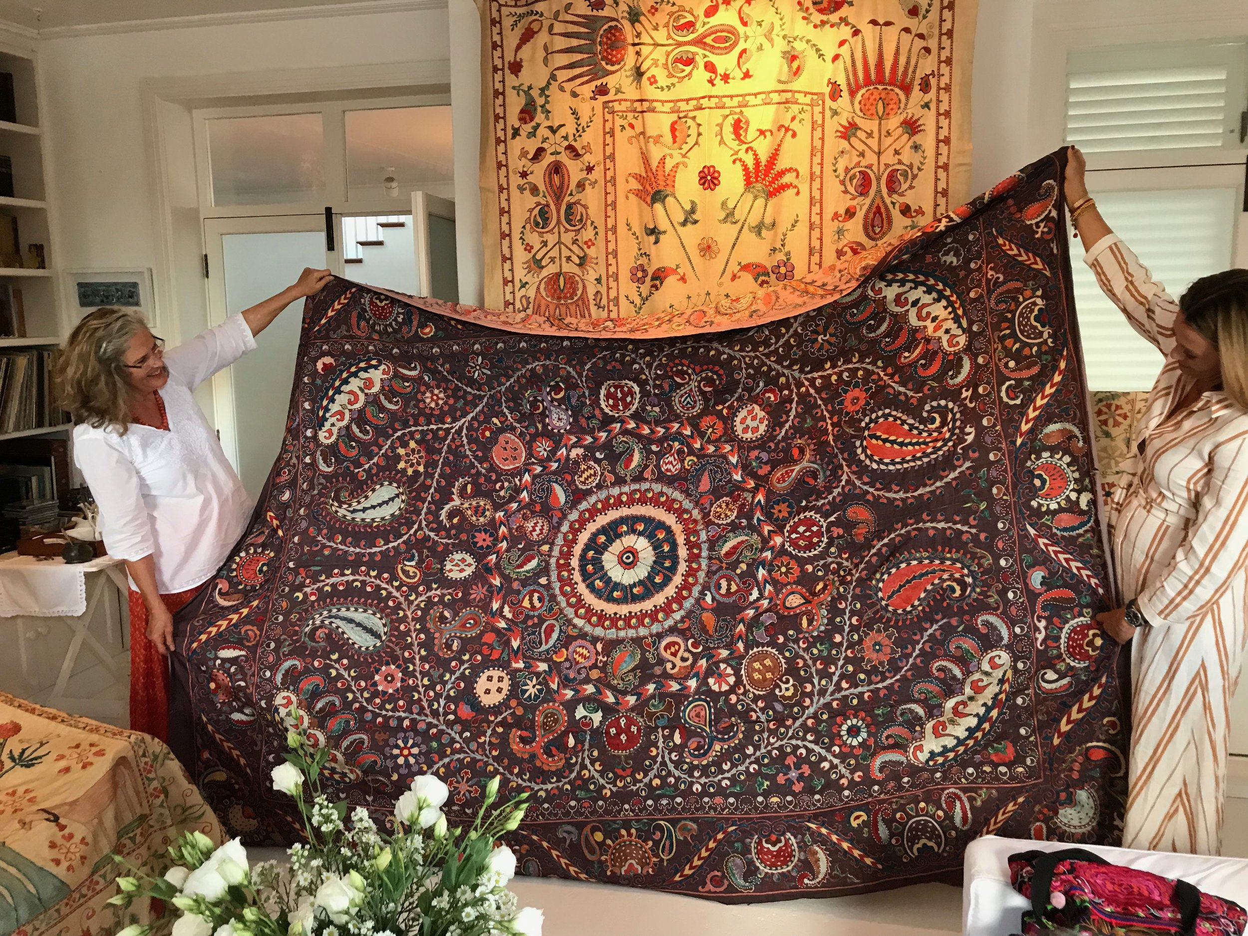 The most magnificent All Silk Shakhrisabz Suzani , the first to be opened from the new parcel in May. ( She found a home immediately )