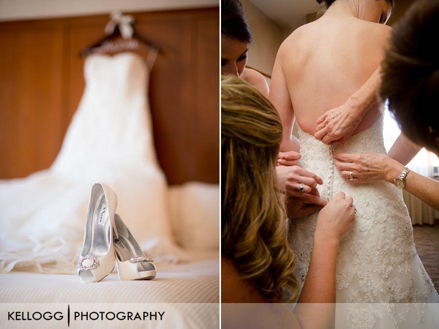 Wedding getting ready in hotel room