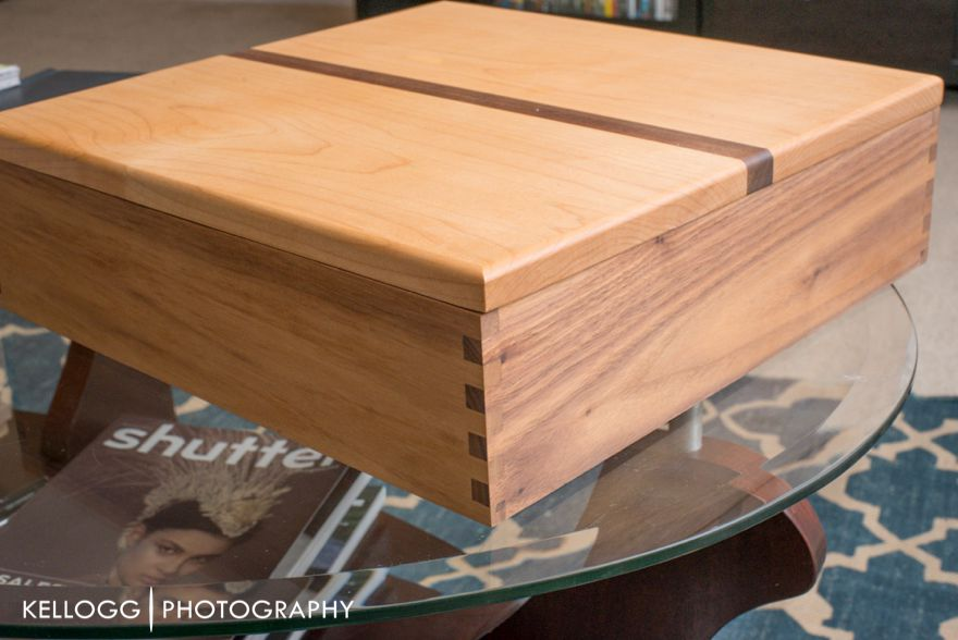 Wood album box with names and wedding date engraved