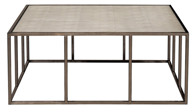 """The striking Vista Cocktail table with the Fog Shagreen top and Bronzed metal base will anchor the center of the room with its dominant 44"""" x 44"""" x 18"""" dimensions."""