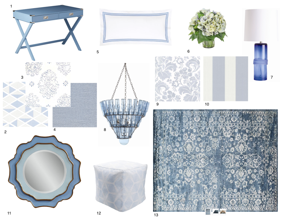 "1. Writing Desk in Heritage Blue with Nickel Finish - $373.50, 2. Simon Navy Geometric Wall Covering (available through Casey Sanford Interior Design), 3. Victoria Hagen, Marianne, Denim Fabric (available through Casey Sanford Interior Design), 4. Victoria Hagen, Halex, Dusk Fabric (available through Casey Sanford Interior Design), 5. French Blue Double Boudoir Pillow - $70.00, 6. Faux Hydrangea - $137.50, 7. Topher Lamp 30""H x 15""W by Arteriors Home - $390.00, 8. Steadman Chandelier 52""H x 29""W by Arteriors Home - $2,205.00, 9. Floral Wall Covering (available through Casey Sanford Interior Design), 10. Wide Stripe Wall Covering (available through Casey Sanford Interior Design), 11. Blue and Gold Frame Wall Mirror - $558.00, 12. Blue Pouf Ottoman in Polyester - $349.00, 13. Hand Knotted, Hand Spun Viscose Bamboo Rug, Denim - $3,655.00 (available in multiple sizes)."