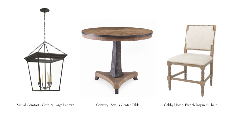 Cornice Large Lantern: https://www.circalighting.com/cornice-large-lantern-sl5872/ | Sevilla Center Table: https://www.centuryfurniture.com/product-detail.aspx?sku=SF5561&section= | French Inspired Chair: http://gabbyhome.com/products/tyson-dining-chair/