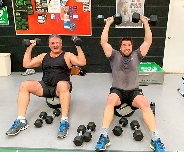 Happy STRONG clients adapting exercise #troublemakers 😂😂😂 @richardstidolph49 @strongprogramme
