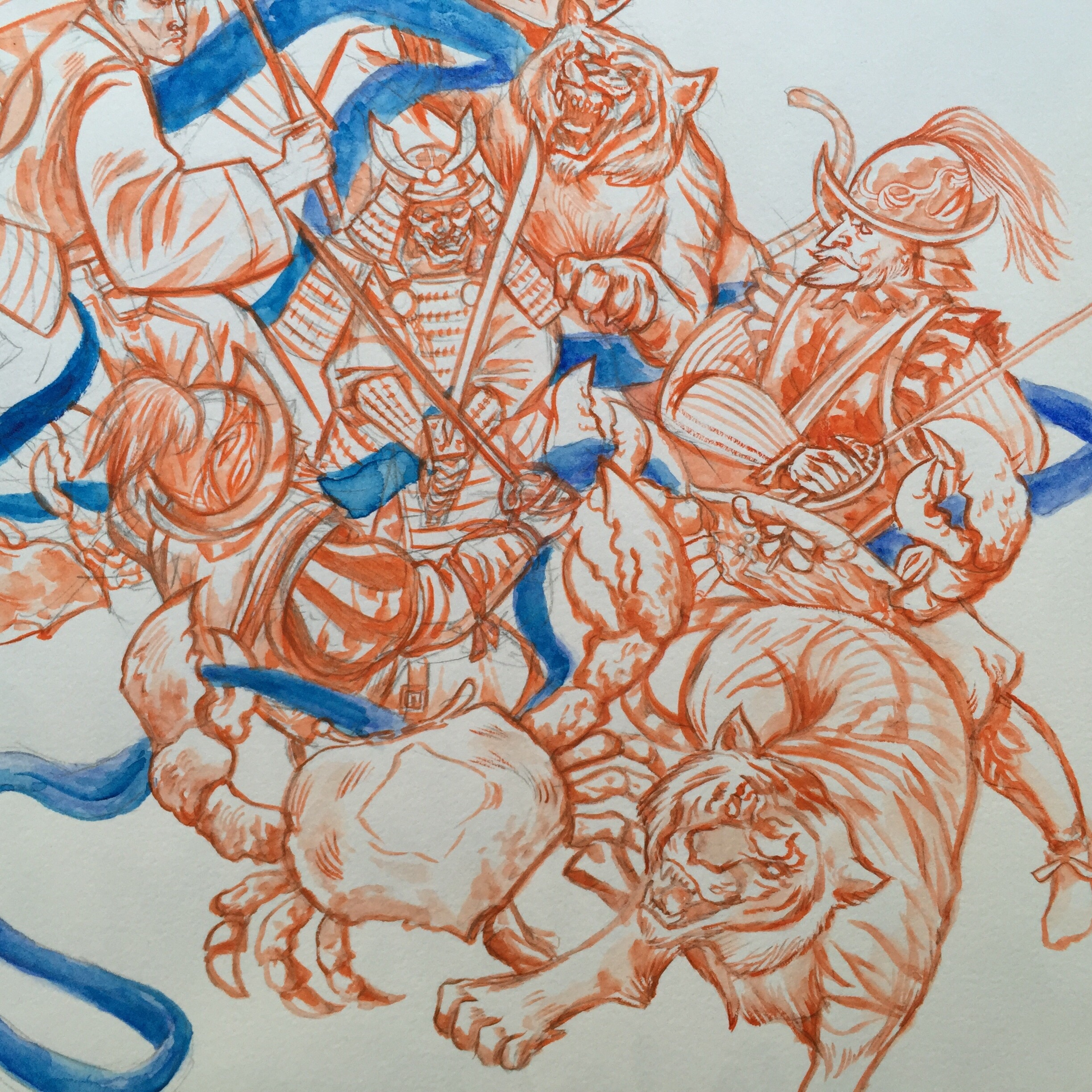 "WIP sample of ""The skirmish"" watercolor on paper, 2015 copyright Kai Martin Art"