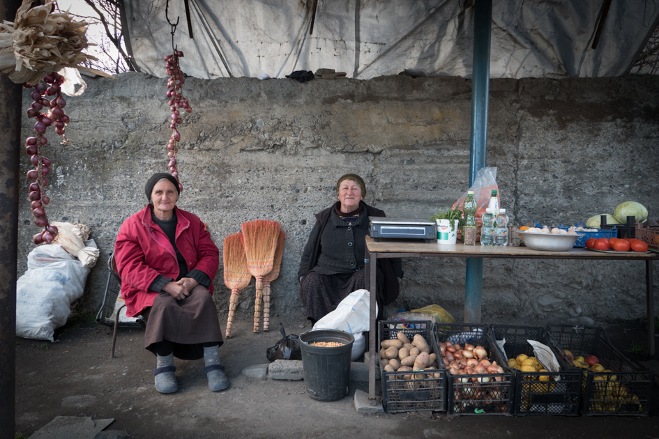 The town's vegetable stall. These two only smile when the camera is away!