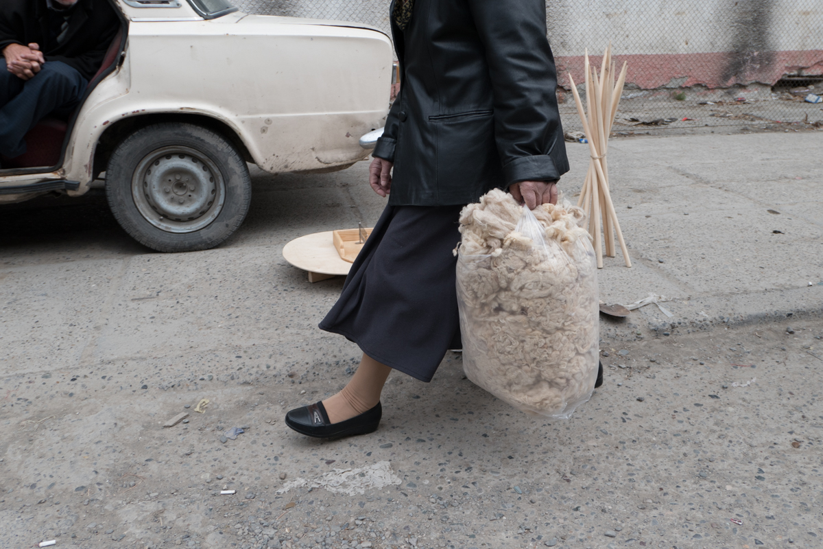 Bag of wool and Lada in the local Bazaar.