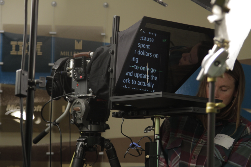 Elizabeth getting the prompter up and going!