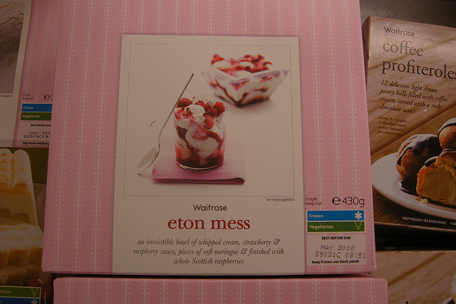 Eton Mess - the sweet dish, best stored in a fridge, rather than a Cabinet. Picture by Moufle, licensed under Creative Commons - thanks.