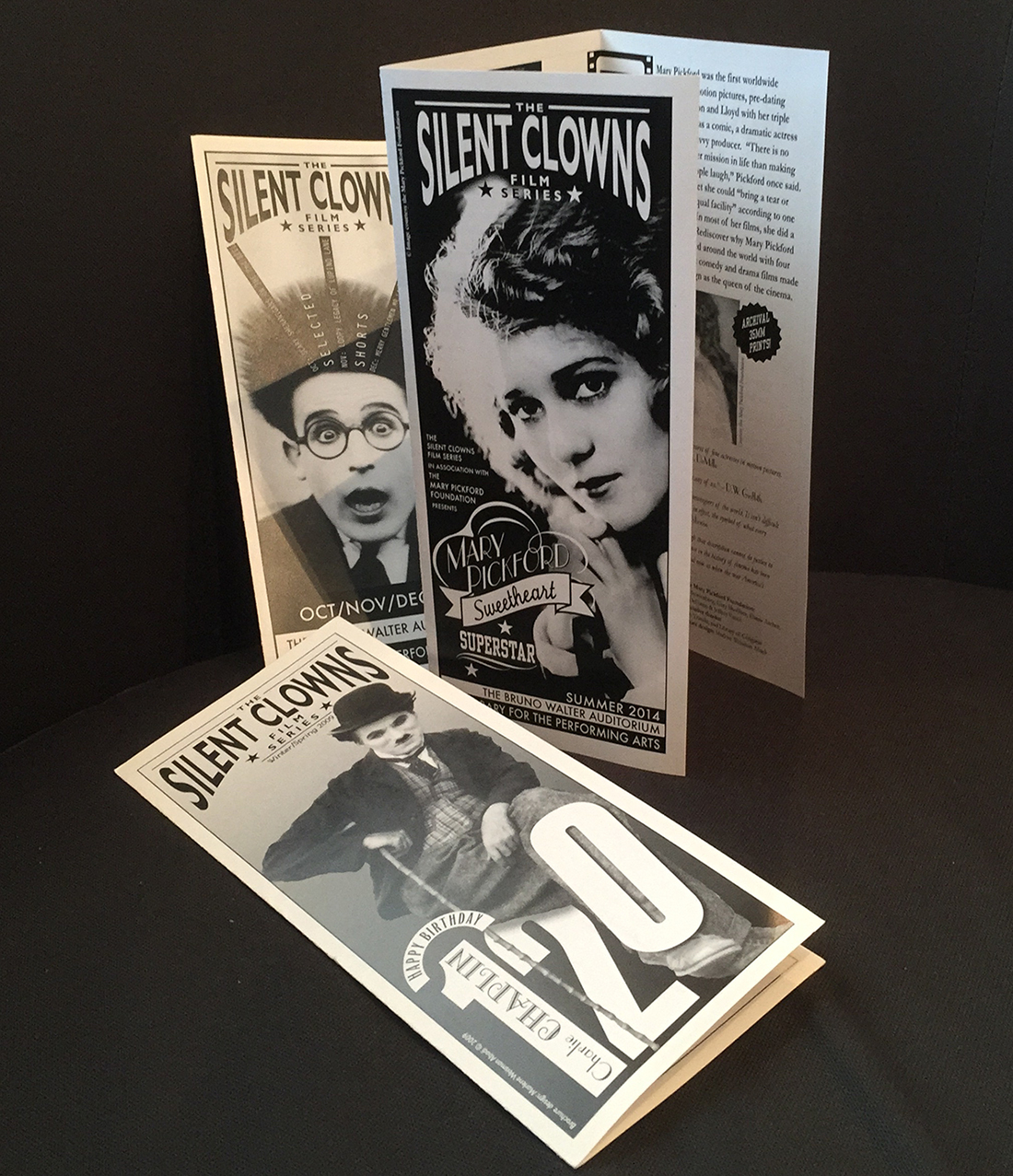 Brochure designs for  The Silent Clowns Film Series