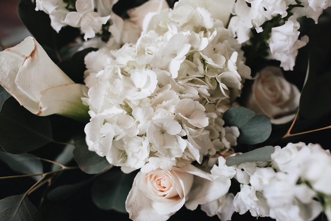 A white floral arrangement.