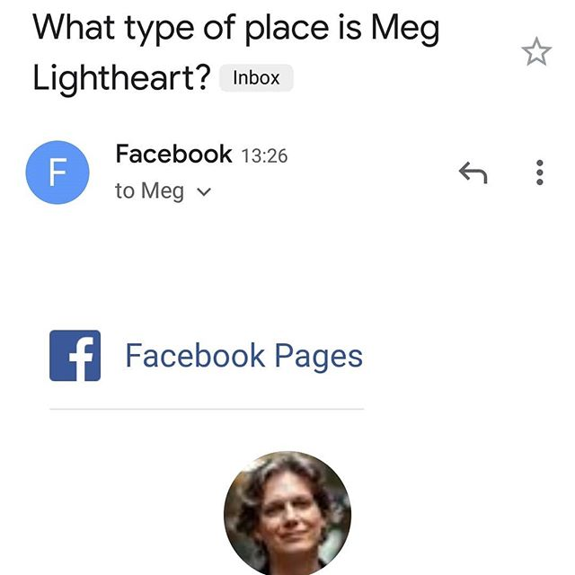 What type of place *is* Meg Lightheart?  Oh Facebook you're so weird.  If I don't decide soon, no one will be able to check in at... me.