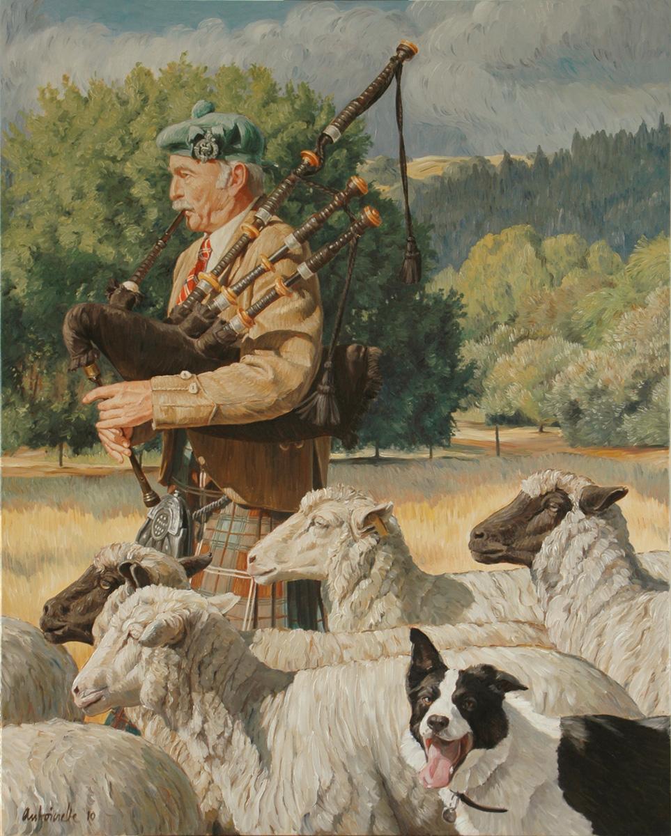 Bag Piper at Sheep Dog Trials