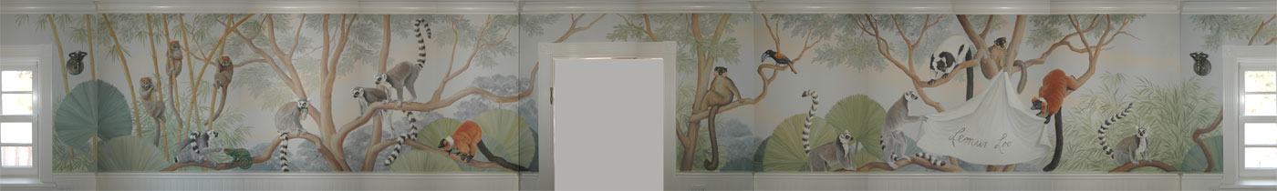 4 walls of the lemur loo, guest bathroom