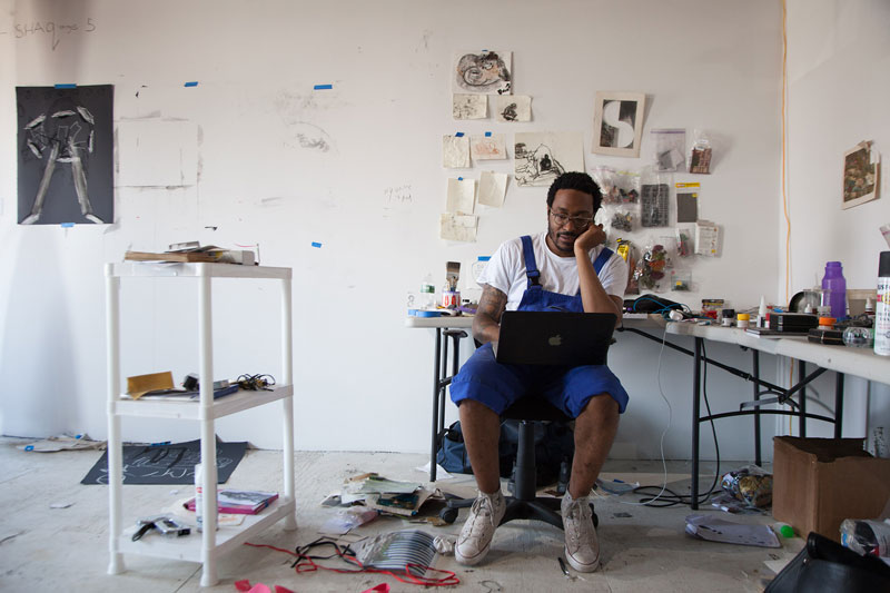 "Curtis ""Talwst"" Santiago in his studio at Pioneer Works, Red Hook, Brooklyn"